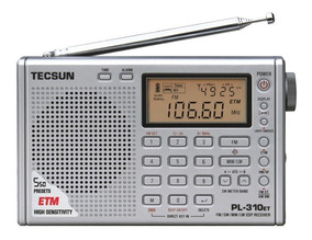 Rádio Receptor Tecsun Pl-310et Prata Multibanda Importado