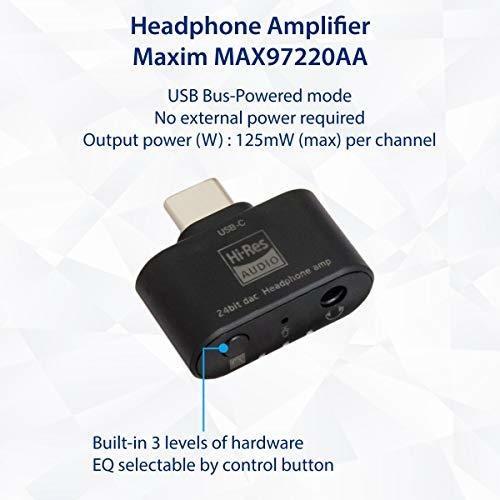 Adaptador de Audio Tipo C de 96 KHz de 24 bits DAC a 3.5mm Amplificador de Auriculares 3 Niveles EQ Soporte