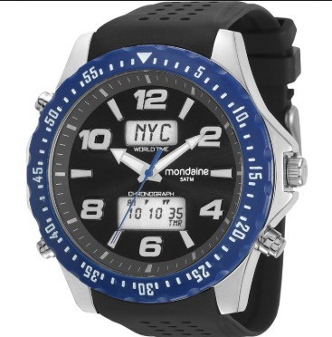 Relógio Masculino Mondaine Anadigi Preto Cronografo Pro Regr