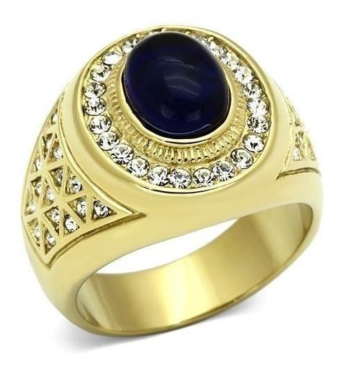 Anel Masculino Folheado A Ouro 18k Safira Azul Luxo