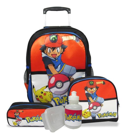 Kit Escolar Infantil Mochila De Rodinhas Pokemon Tamanho G