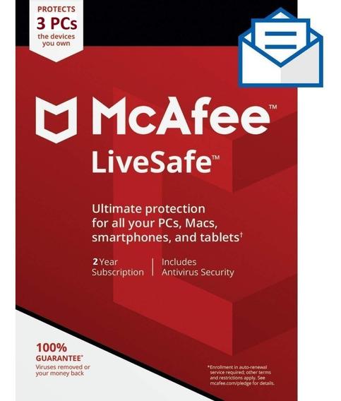 Mcafee Antivírus Live Safe 2019 3 Pcs Original 2 Anos Online