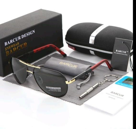 Óculos De Sol Barcur Polarizado Estilo Piloto Uv400 Original