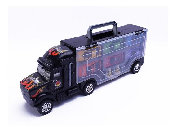 Camion Valija Porta Autos + 6 Autos Y 2 Cono Duende Azul Ful
