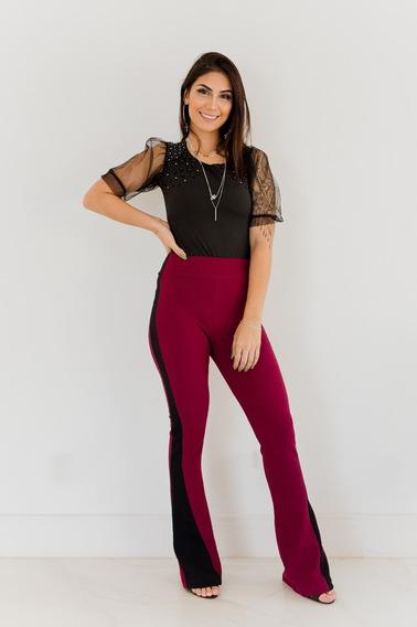 Calça Flare Feminina Rosa Escuro De Neopreme Tamanho 36