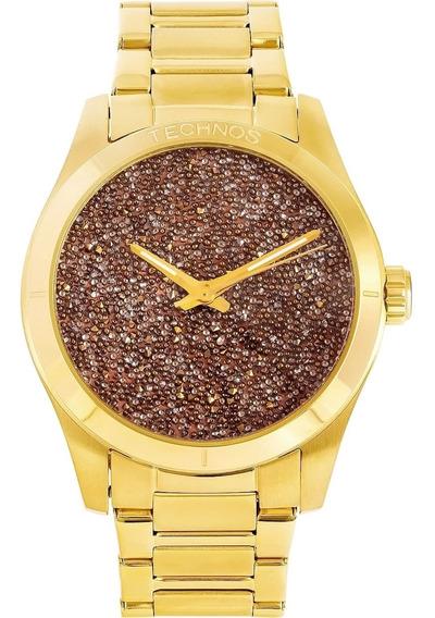 Relógio Feminino Technos Dourado Original Aço Inoxidável