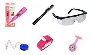 Kit Acessórios Para Enfermagem Lanterna Termômetro Relógio
