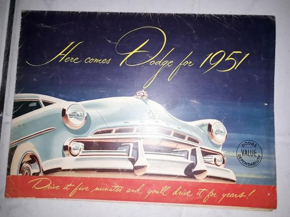 Folder Folheto Catálog Dodge Coronet Diplomata Wayfarer 1951