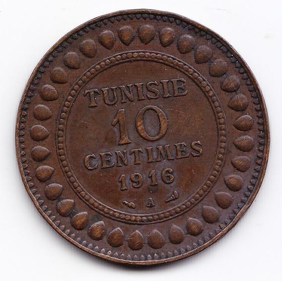 Tunez Moneda 10 Centavos 1916 Bronce Km 236 Vf+ Muy Bien