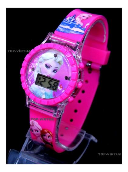 Relógio Da Frozen Rosa Com Som Luzes Original Infantil C330