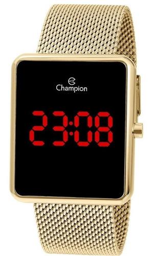 Relógio Champion Feminino Digital Dourado Quadrado Original