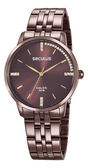 Relógio De Pulso Seculus Feminino 28812lpsvma4 - Marrom