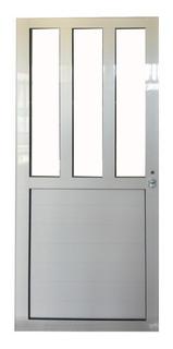 Puerta De Aluminio Blanco 80 X 200 1/2 Medio Vidrio