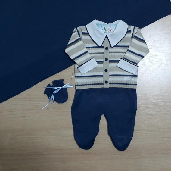 Saida Maternidade 4 Pçs +body + Touca Menino Listras-a.jeans