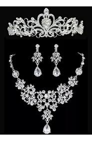 Coroa Tiara Noiva Debutantes + Colar + Brincos