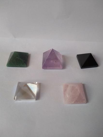 Kit 5 Piramides Ametista Cristal Quartzo Rosa Obsidiana Verd