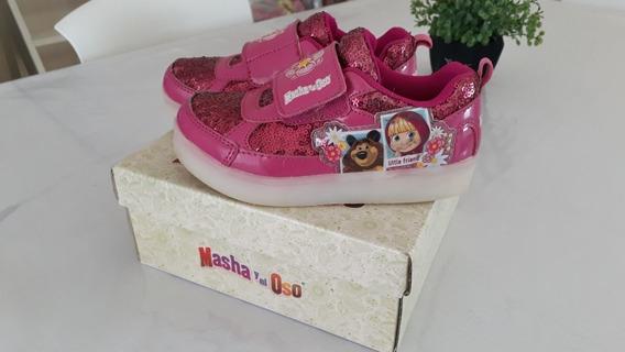 Zapatillas Footy Usadas Con Luces Led Masha Y El Oso