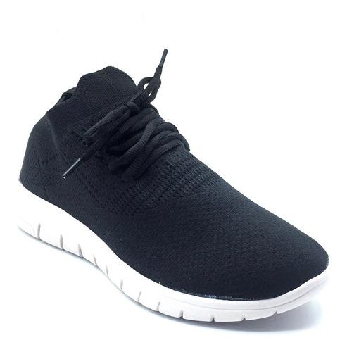 Imagen 1 de 8 de Zapatillas Elastizada Cordón Mujer Urbana Tela Plataforma