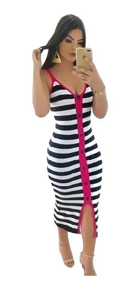 Vestido Midi Crepe Malha Canelado Listrado Listras Rosa