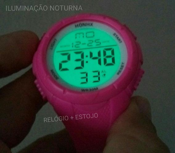 Relógio Esportivo Academia Pulso Led Digital Rosa S Shock