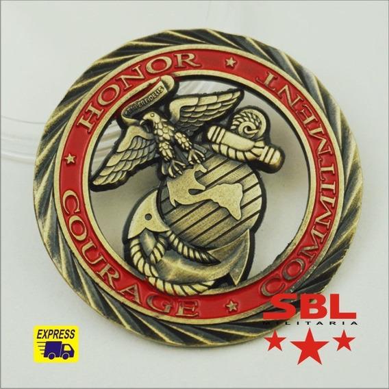 Moeda Comemorativa Us Marines Honra Coragem Comprometimento