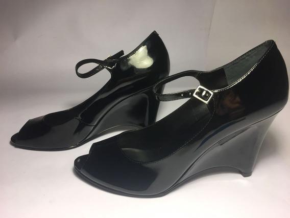 Zapato Nuevo Mujer Dama Nine West Tacon 6.5 Mex Negro Charol