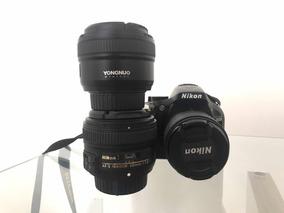 Nikon D5200 + Lentes (18-55mm, 50mm E 35mm)