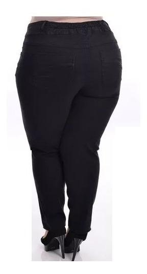 Calça Jeans C/ Lycra Feminina Preta Colorida Plus Size
