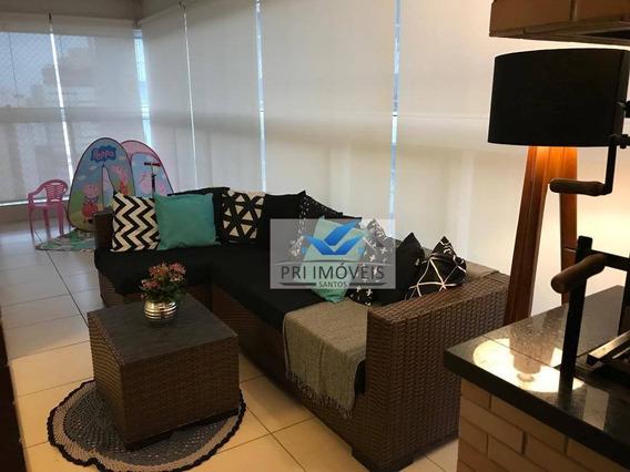 Apartamento Com 3 Dormitórios À Venda, 109 M² Por R$ 1.160.000 - Gonzaga - Santos/sp - Ap1237