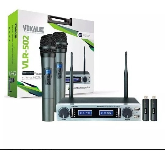 Microfone Vokal Vlr-502 Duplo S/ Fio Bateria Recarregável