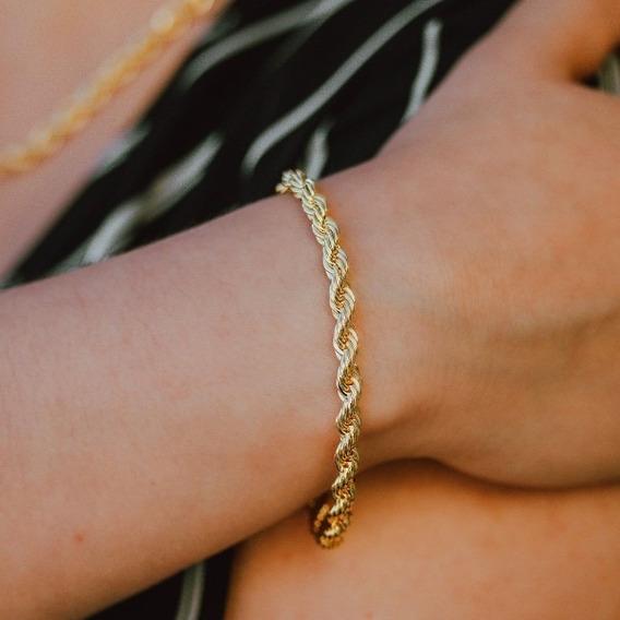 Pulseira Cordão Baiano Dourada Banhada A Ouro 18k