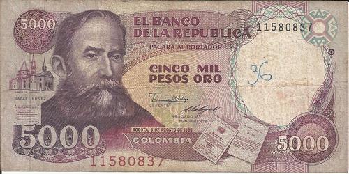 Imagen 1 de 2 de Colombia 5000 Pesos  5 Agosto 1986
