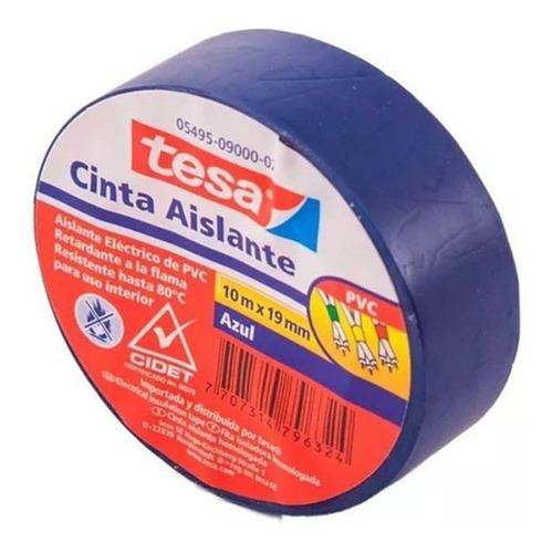 Imagen 1 de 3 de Cinta Aislante Tesa Azul 10 Mts X 19 Mm