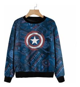 Blusa Moletom Marvel, Homem Aranha, Capitão America, Ironman