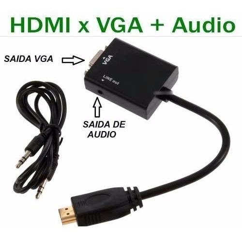 Cabo Conversor Adaptador Vídeo Hdmi Para Vga Com Áudio P2
