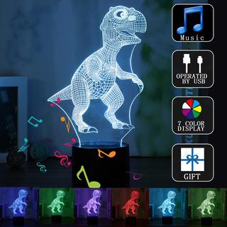 3d Bluetooth Altavoz Dinosaurio Ilusión Lámpara 7 Cambio De