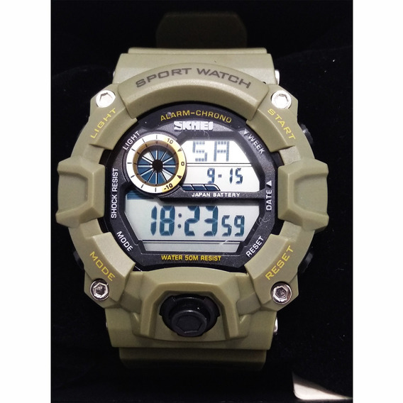 Relógio Masculino Skmei 1019 Digital Verde Militar Exercito