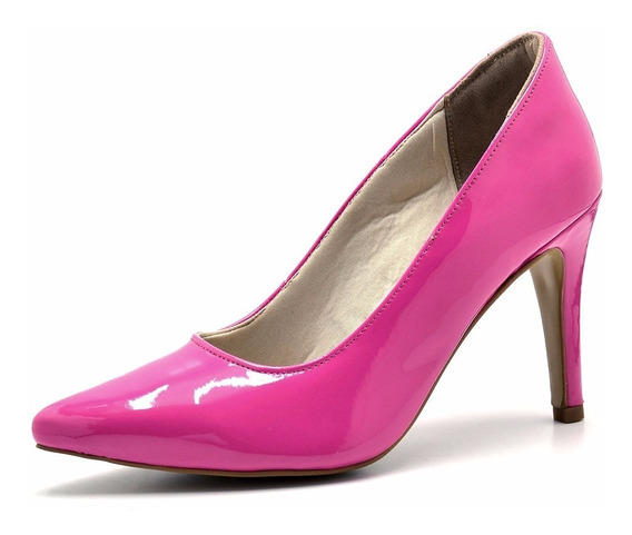 Scarpin Sapato Feminino Salto Alto Bico Fino Verniz Opções