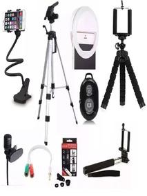 Kit Youtuber Com Microfone + Tripé Para Celular