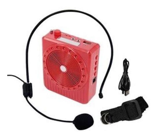 Kit Professor Speaker Vermelho - Multi-funcão - Fm - Usb