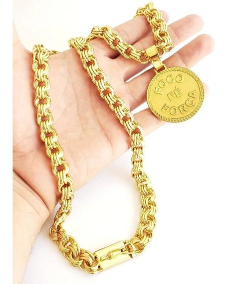 Cordão Banhado À Ouro 18k 12mm Friso Triplo + Pingente Luxo