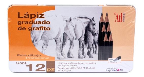 Estuche Metal Lápices Madera Dibujo Grafito Atl 12pzs Envío