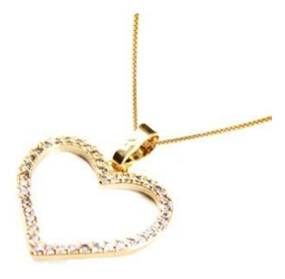 Colar Coração Zirconia Corrente Cordão Folheado Ouro 18k