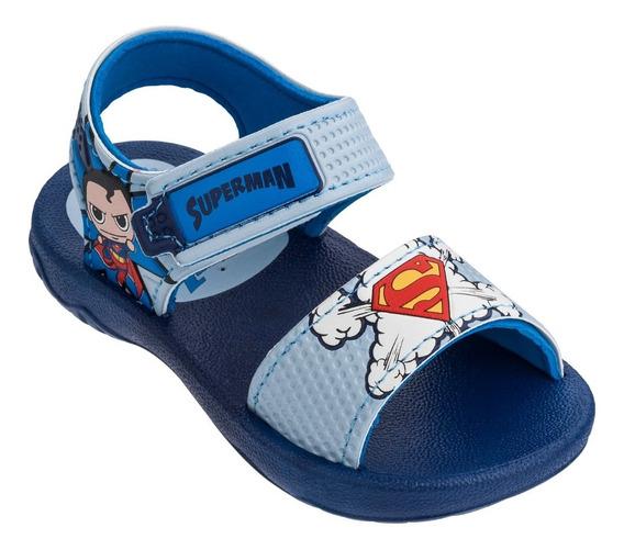 Sandalias Ojotas Superman Baby Azul Verano Fty Calzados