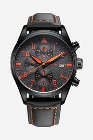 Relógio Ochstin Preto Detalhes Laranja Pulseira Couro C/ Nfe