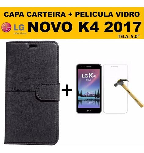 Pelicula Vidro + Capinha Carteira Couro LG K4 Dual X230 2017