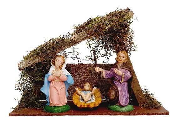 Pesebre Navidad Nacimiento Cabaña Navideña Mediano 3 Piezas