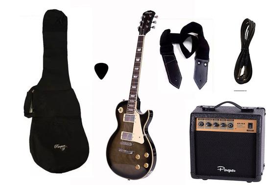 Combo Guitarra Electrica Parquer Lp Negra 3 Amplificador 10w