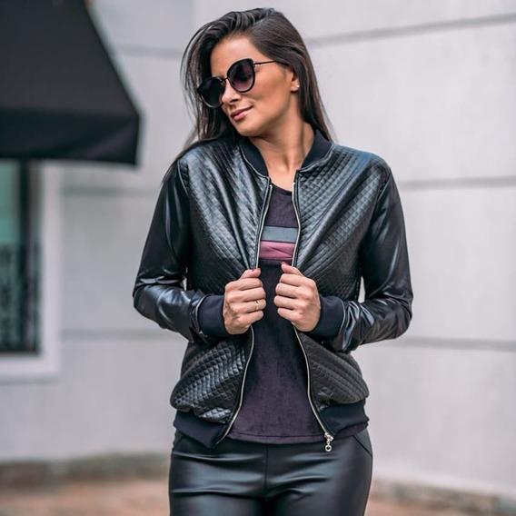 Jaqueta Feminina Bomber Preta Metalassê Moda Outono Inverno