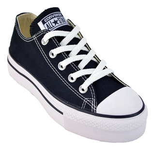 all star converse plataforma negras